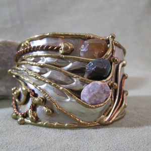 Sterling Silver, Tumbled Stone Cuff, Mixed Metals